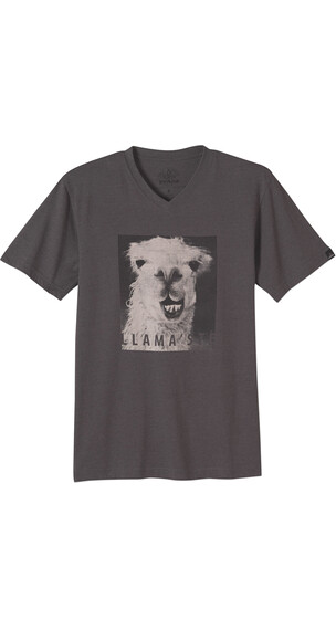 Prana Llama'ste Vneck Sim T-Shirt Men Charcoal Heather